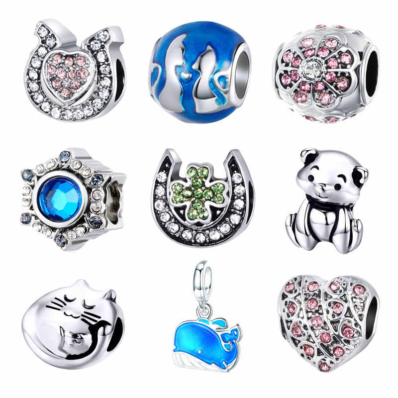 BISAER NEW Silver color Lucky Whale Teddy Bear Animal Charms Fit PAN Bracelet & Bangles for Women Fine DIY Accessories Making