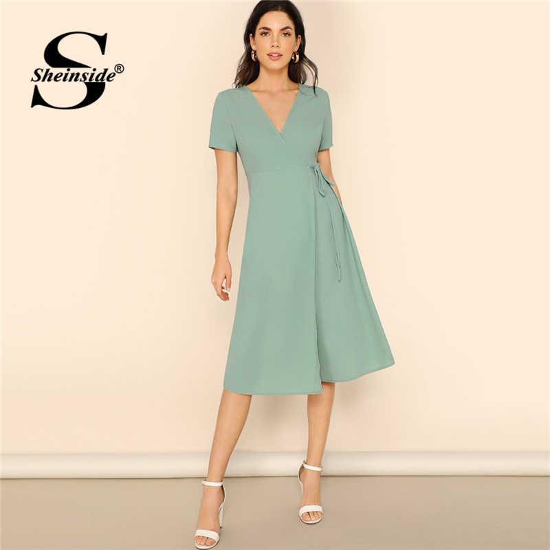 Sheinside Surplice Шеи Обертывание узлом сплошное Платье зеленое Пастельное с v-образным вырезом короткий рукав летние платья для женщин 2019 Boho Midi платье