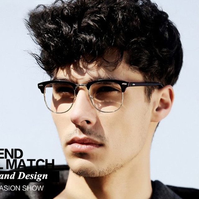 e7d513f0ad Retro Fashion Metal Half Frame Glasses Frame Woman Men Reading Glass UV  Protection Clear Lens Computer Eyewear Eyeglasses