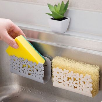 Kitchen Organizer Rack for Dish Clothes Sink Sponge Dish Holder Clip with Suction Cup Hollow Flower Kitchen Bathroom Drying Rack