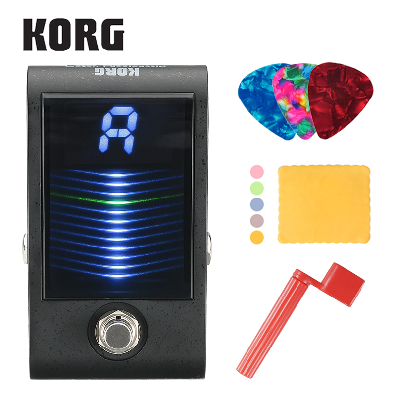Korg PBCS Pitchblack Custom Pedal Tuner with 3D Visual Meter Display True bypass with Strings Winder, Polishing Cloth, Picks