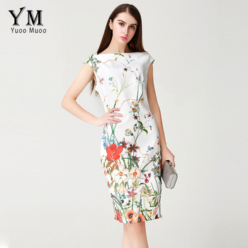 YuooMuoo 2017 Summer Dress Women Knee-length Elegant Office Dress European Brand Design Fashion Floral Print Women Dress Косуха