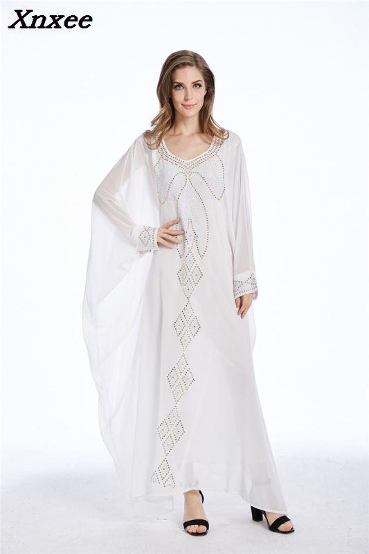 Perles en mousseline de soie Robe musulmane Long caftans pour les femmes fête Abaya dubaï Robe de mode Robe turque lâche d'été Robe de soirée de bal