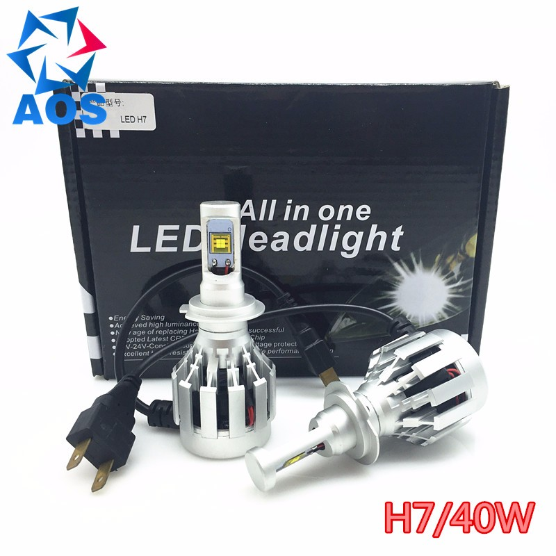 ФОТО 2PCs/set 40W LED Car Headlight bulb H7 All-in-one replacement headlamp ETI LED BULB fog headlamp