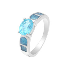 купить Blue Opal Rings For Women Fashion Jewelry New Design Silver Color round Finger Ring  For Party And For jewelry Gifts по цене 196.01 рублей