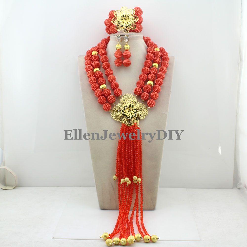 Nouveau arrivé déclaration collier Nigeria mariage ensemble collier afrique perles classique femmes bijoux ensemble W12432