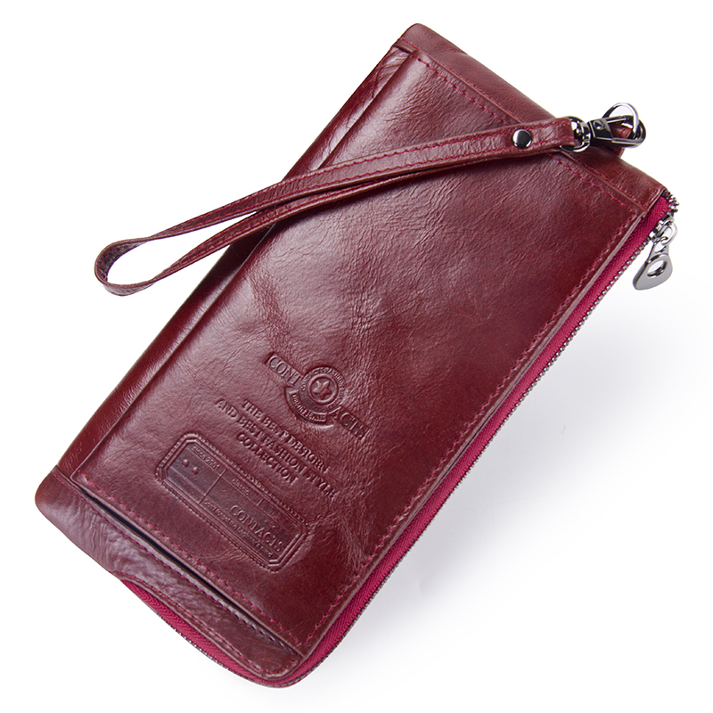 Image 2 - Contact's New Genuine Leather Woman Wallets Long Clutch Female Purse Brand Design Phone Bag For Female 2019 Fashion Coin Wallet-in Wallets from Luggage & Bags
