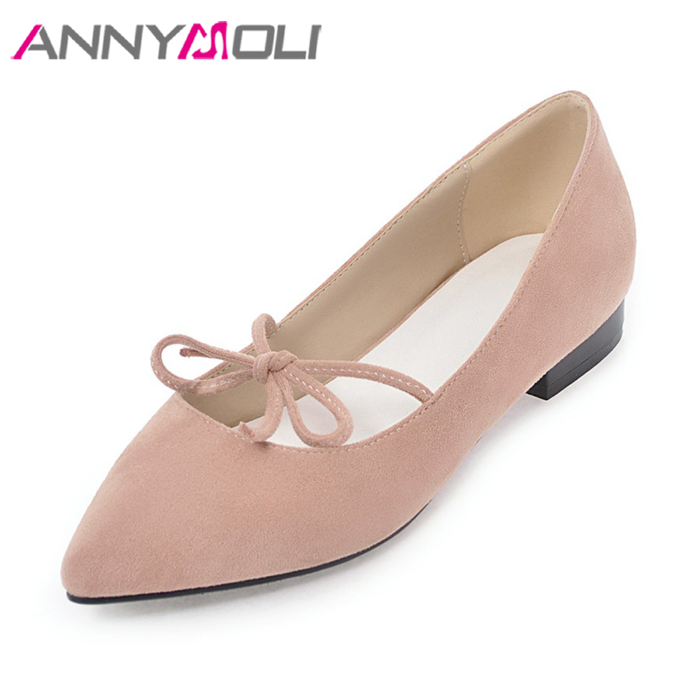 ANNYMOLI 2018 Women Boat Flats Shoes Spring Lace Up Bow-knot Pointed Toe Shoes Female Pink Casual Shoes Ladies Big Size 42 43 new 2017 spring summer women shoes pointed toe high quality brand fashion womens flats ladies plus size 41 sweet flock t179