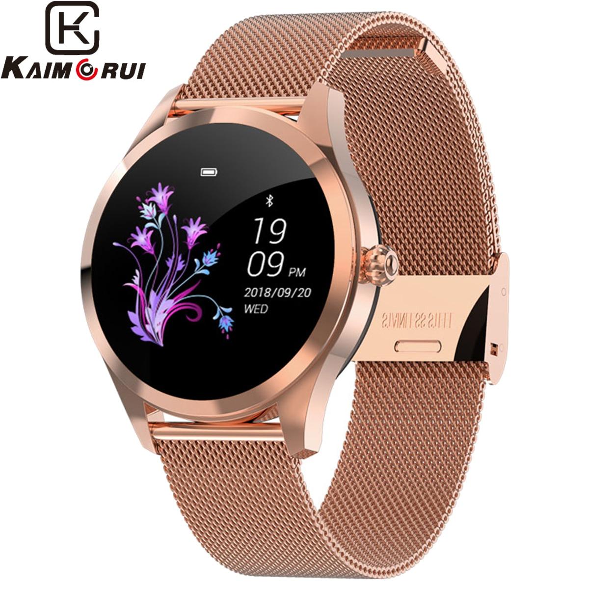 2019 Novo Relógio da Frequência Cardíaca Do Bluetooth Inteligente Relógio Inteligente Mulheres KW10 IP68 Ciclo Fisiológico Smartwatches À Prova D' Água Relógio para IOS