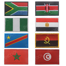 South Africa Egypt Kenya Congo Nigeria Angola Morocco Tunisia Flag Embroidery Patch Flags Badges Morale Patches Appliques Emblem(China)
