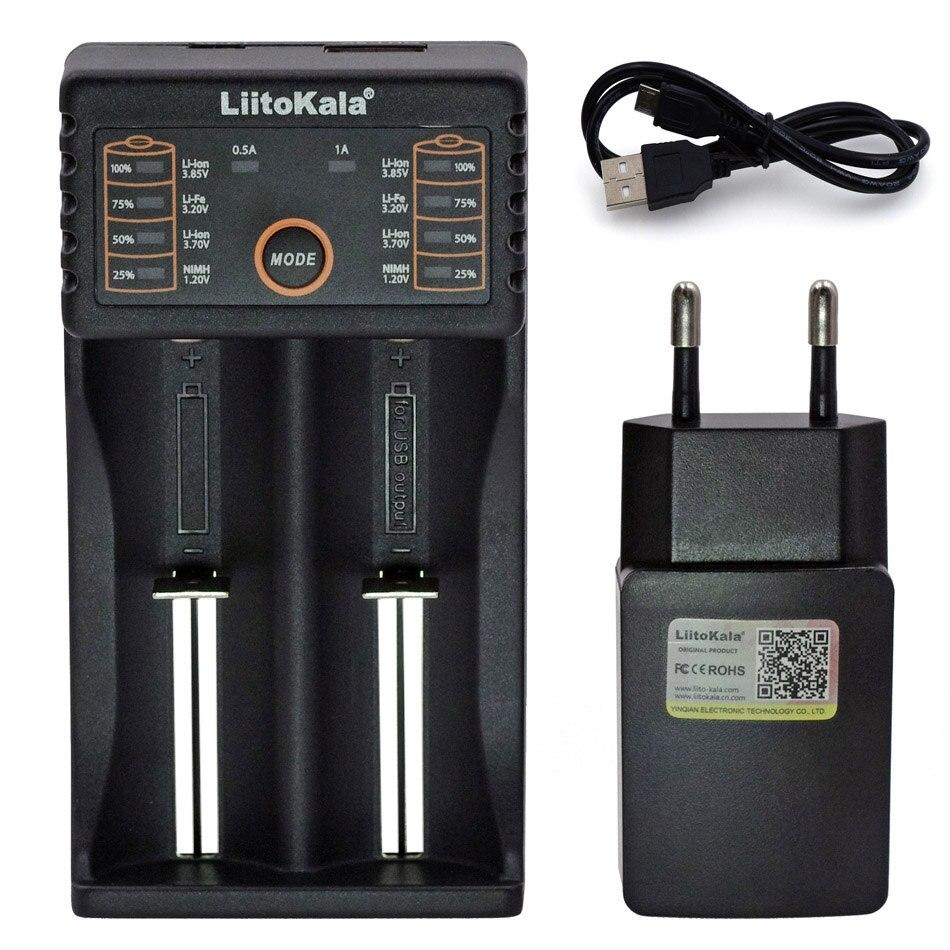 Liitokala Lii402 Lii202 Lii100 LiiS1 18650 Carregador 1.2V 3.7V 3.2V AA/AAA NiMH 26650 li-ion battery Charger Inteligente 5V 2A Plugue DA UE