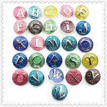 26 шт/лот разные цвета a z алфавит кнопки подходят для 18 мм
