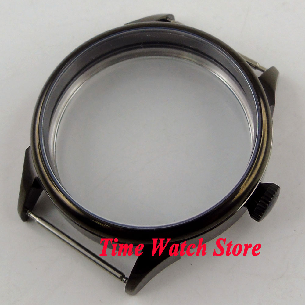 Parnis 42mm black PVD coated watch case fit ETA 6497 6498 hand winding movement C138