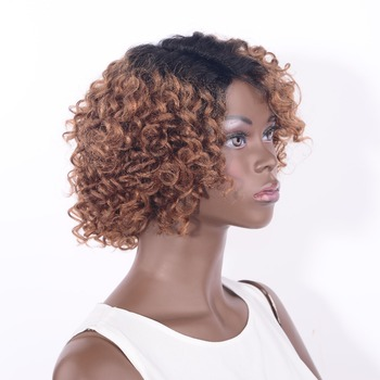 LADYSTAR Short Curly Human Hair Wig Lace Front Wigs For Black Women Remy Human Hair Curly Wigs Ombre Color 8 Inch