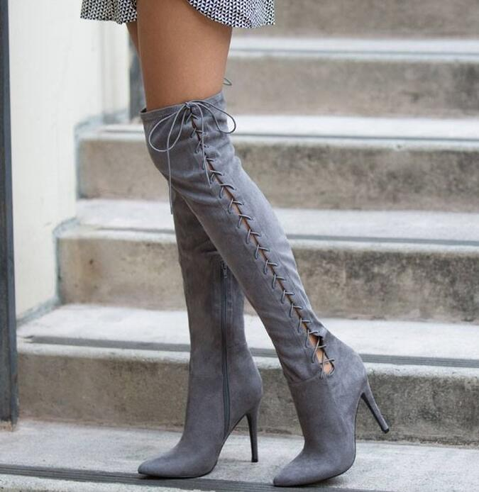 Spring New Fashion Gray Suede Leather Women Over The Knee Boots Sexy Point Toe Lace Up Side Ladies High Heel Boots Female BootsSpring New Fashion Gray Suede Leather Women Over The Knee Boots Sexy Point Toe Lace Up Side Ladies High Heel Boots Female Boots