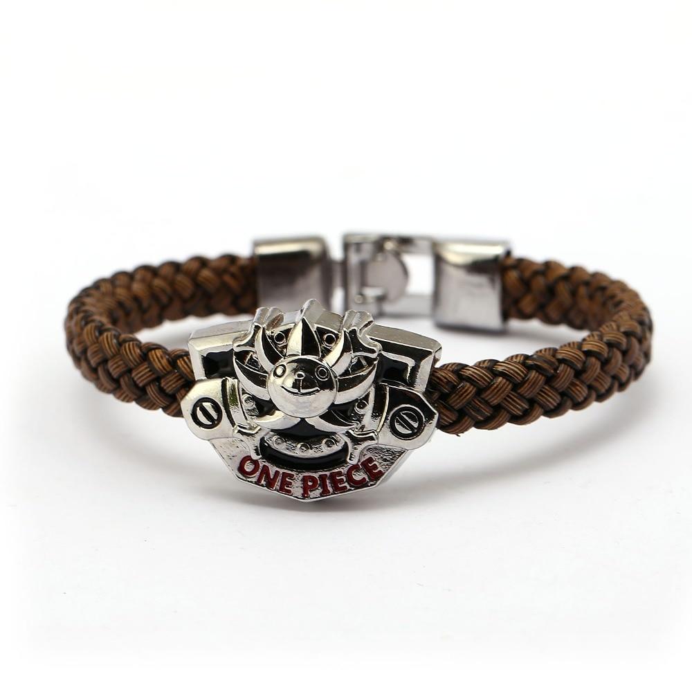 J Store One Piece THOUSAND SUNNY bracelet cosplay jewelry Braid leather bracelets men jewelry kids toy gift personality jewelry