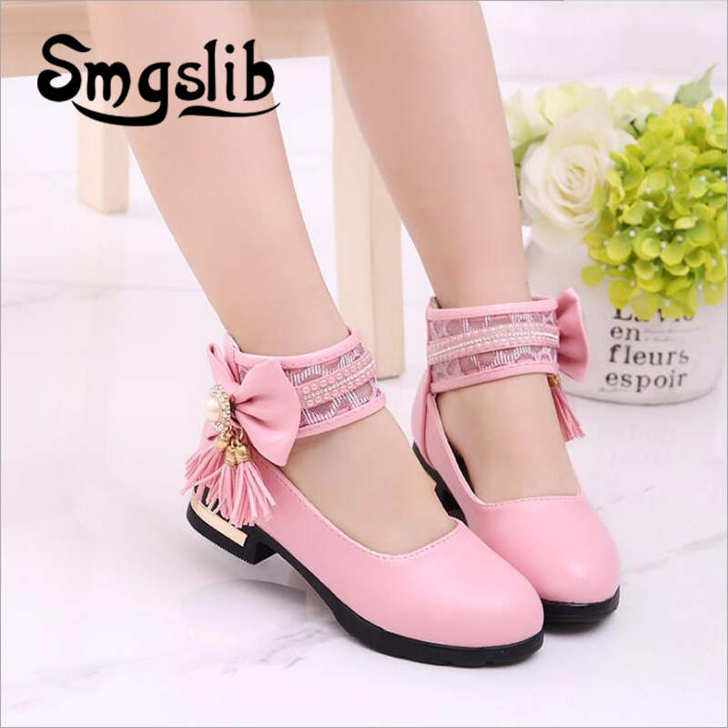 girls shoes pink kids Children Princess Leather shoes Casual Baby Butterfly-knot tassels summer breathable Comfortable shoes