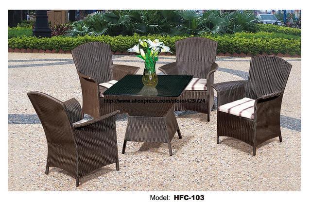 Creative Outdoor Furniture In Comfortable High Back Armest Chairs Creative Table Rattan Garden Set Leisure Balcony Villa Furniture Outdoor