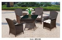 Comfortable High Back Armest Chairs Creative Table Rattan Garden Set Leisure Balcony Villa Furniture Rattan Outdoor Furniture