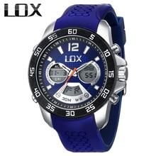 LOX Men Sports Analog Digital Watch Dual Display Multifunction Quartz Wristwatches Top Luxury Outdoor Male Clock