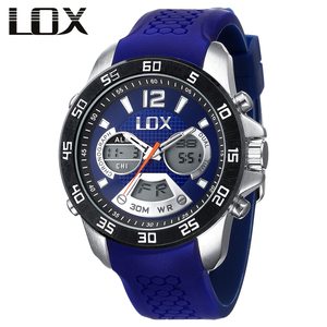 LOX Men Sports Analog Digital Watch Dual Display Multifunction Quartz Wristwatches Top Luxury Outdoor Male Clock Montre Homme