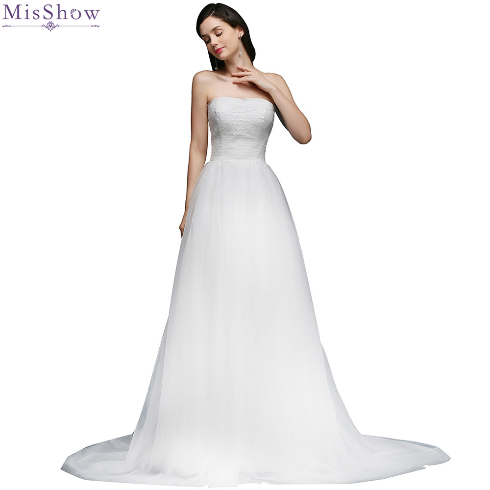 A Line Simple Wedding Dresses: MisShow 2018 Retro Simple Lace Tulle Wedding Dress