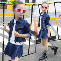 2017 Spring New Girls Clothing Sets Long Sleeve Casual Pearl Denim Suits For Baby Girl Denim