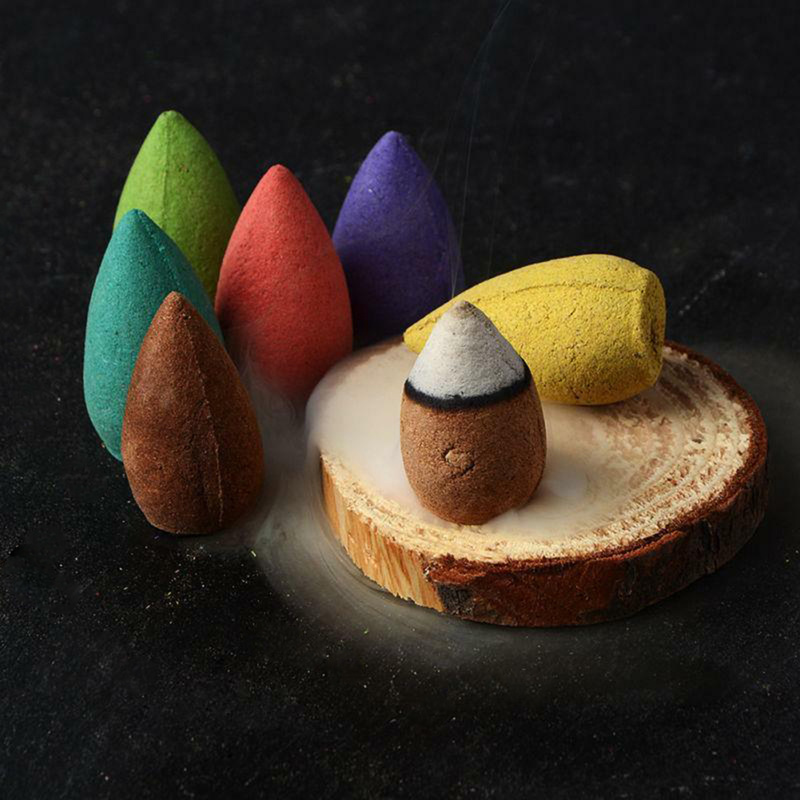 50PCS Floral Incense Cone Colorful Fragrance Scent Tower Incense Mixed Scent Aromatherapy Fresh Air Aroma Spice Antiperspirants
