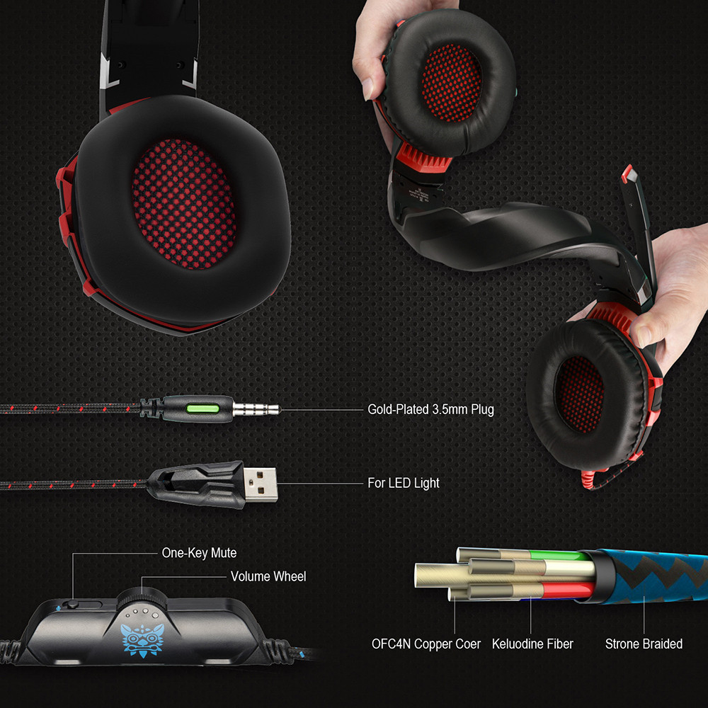 ONIKUMA K2 7.1 Surround Sound USB Gaming Headset Casque Wired PS4Xbox One Headphoes with Microphone Volume Control for Computer (5)