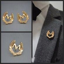 1 шт. буквы м значок деловой мужской костюм брошь на воротник золотой модный аксессуар для мужчин и женщин рубашка галстук карман булавки