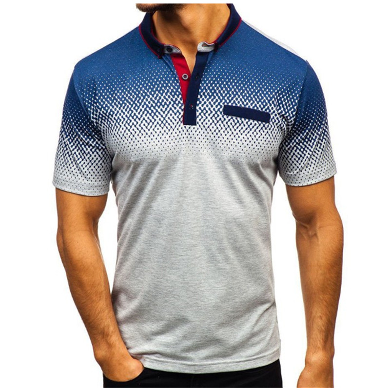 Image 4 - 2019 foreign trade hot style men's polo summer 3D printed short sleeved polo men's European and American polo shirt lape-in Polo from Men's Clothing