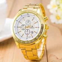 Mens Gold Watch Stianless Steel Quartz Watches Mens Watches Style Wristwatches Unisex Analog Classic Round Relogio Feminino
