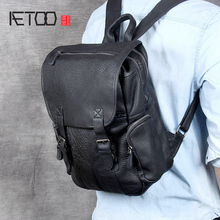 AETOO Head cowhide Double Shoulder bag male handmade large capacity leather backpack casual bag все цены