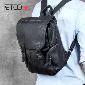 AETOO Head cowhide Double Shoulder bag male handmade large capacity leather backpack casual bag - DISCOUNT ITEM  52 OFF Luggage & Bags