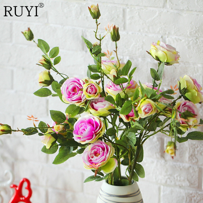 French Romantic Colorful Silk Flower Big Size Floor Artificial Rose 6 Heads Bouquet Wedding Decoration