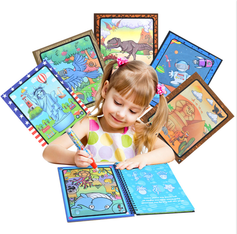 Magic Water Drawing Book Coloring Book Doodle with Magic Pen Painting Board Juguetes For Children Education Drawing Toy minions the doodle book