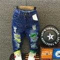 Рваные джинсы дети детей девочек анфан гарсон 2016 осень весна джинсовые брюки джинсы для мальчика