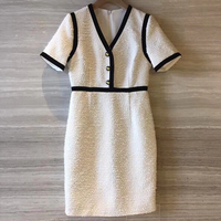 Women Elegant Party Summer Dress Tweed Print Plaid Fashion Summer Lady Dress 2019 New Women Short Sleeve Dress