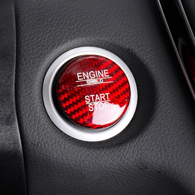 Pour Mercedes Benz Classe C W205 C180 C200 C250 C300 C400 C63 S En Fiber De Carbone Start Stop Moteur Bouton Clé garniture Autocollant Couverture