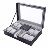 Watch Box 8+3 Mixed Grids 30*20*8cm PU Leather Suede Inside Word Buckle Storage Jewelry Ring Display Storage Mens Case Top New