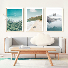 Modern Minimalist Blue Landscape Sea Beach Alpine Cloud Canvas Painting Art Abstract Print Poster Picture Wall Home Decoration