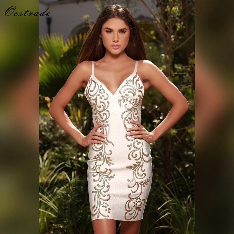 Ocstrade Sexy Bandage Dresses 2019 New Fashion Nude Painted Embellished Bandage Dress Summer Womens Bandage Dresses High Quality