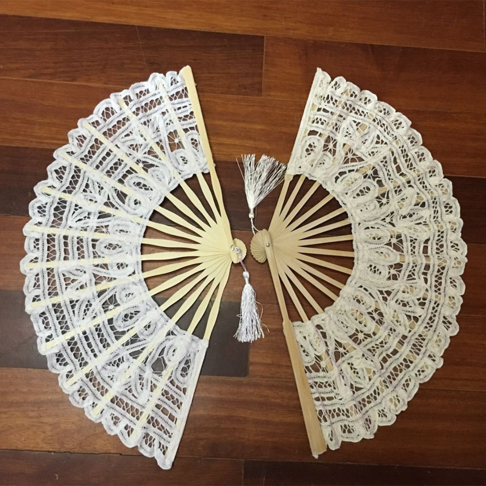 7 colors vintage style handmade folding fan battenburg lace embroidery white and beige wedding fans woman hand fan high quality