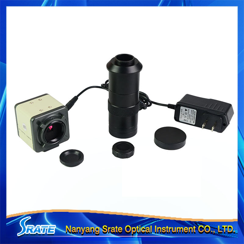HD CCD 800 Lines C-Mount Digital Microscope Eyepiece AV/BNC Out Put Industrial Camera with 100X Zoom Lens hd ccd 800 lines c mount digital microscope eyepiece av bnc out put industrial camera with 100x zoom lens