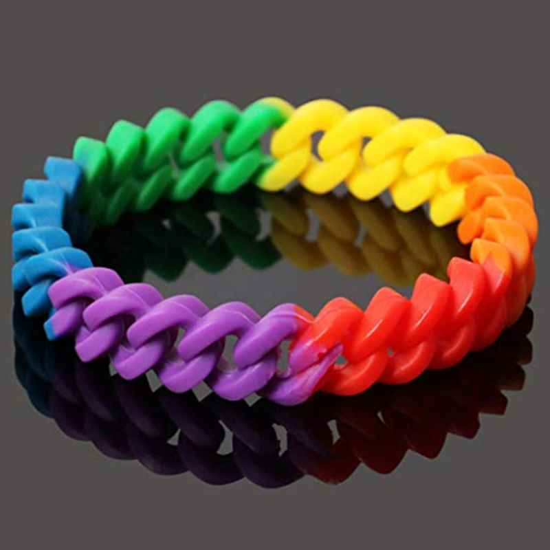18 tipos Unisex LGBT Arco Iris letras pulsera deportiva Orgullo Gay lesbianas pulsera de goma de silicona brazalete fiesta desfile