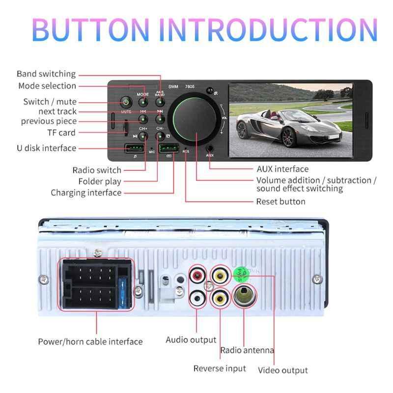 1 セット 12 V ユニバーサルデュアル USB 4 インチ HD カーラジオの Bluetooth 4.0 反転画像マルチメディア MP5 プレーヤー車 AUX FM ステレオ音楽プレーヤー