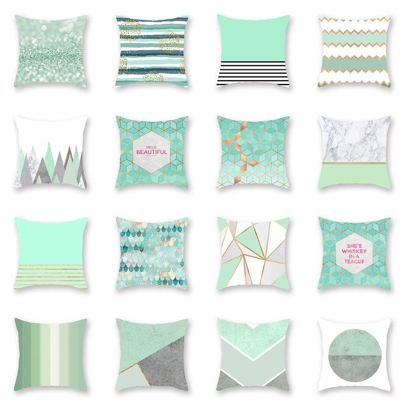 CUSCOV Ot Mint Green Geometric Pillowcase Digital Printing Pillowcase Sofa Cushion Cover Home Decoration Pillow Cover