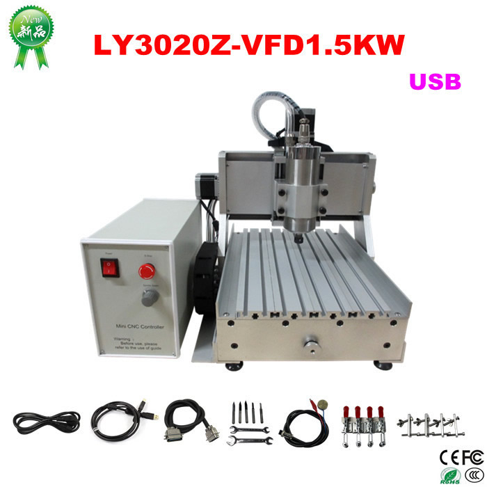 CNC router engraver 3020Z-VFD1.5KW USB 3axis CNC engraving Machine for wood carving stone drilling and milling купить