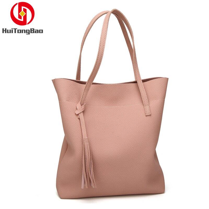2019 Fashion Shoulder Bag Lychee Ladies Tassel Tote Pu Leather Womens Bags Handbags