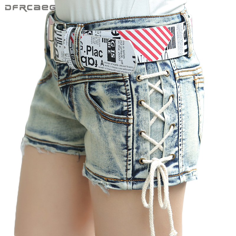 Ligh Blue Retro Denim jeans   Shorts   Women 2018 Fashion Low Waist Vintage   Short   Jeans Casual Female Summer   Shorts   With Belt